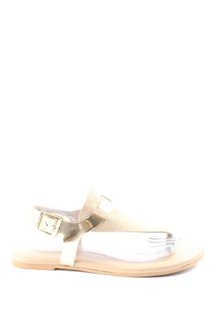 Onygo Sandały japonki kremowy-złoto W stylu casual