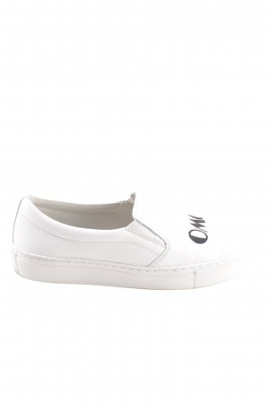 Onygo Slip-on Sneakers white-black embroidered lettering casual look