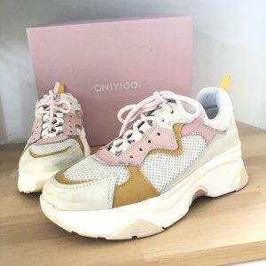 Onygo Sneaker Gr 37 Schuhe weiß rosa gelb Ocker Plateau