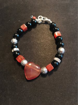 HANDMADE BY GERMANY Pearl Bracelet black-dark orange