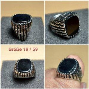 Onyx Ring aus Chirurgenstahl