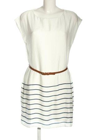 oodji Minikleid weiß-blau Streifenmuster Casual-Look