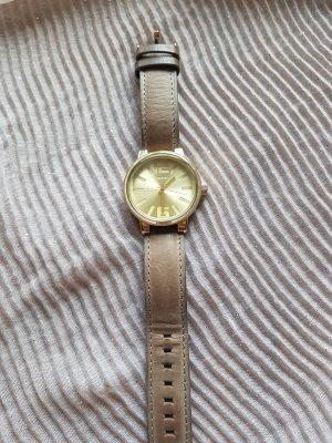 Oozoo Horloge met lederen riempje grijs-bruin