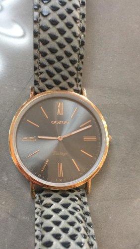Oozoo Damenuhr mit Lederband, grau/ schwarz/ rosegold