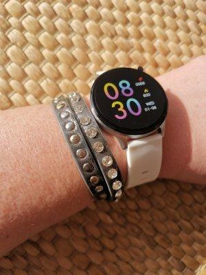 Oozoo Reloj digital blanco-color plata