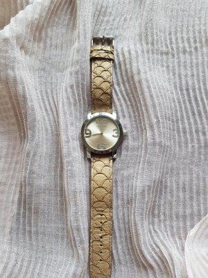 Oozoo Zegarek ze skórzanym paskiem szaro-brązowy