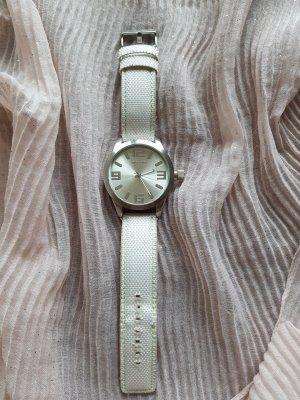 Oozoo Zegarek ze skórzanym paskiem biały