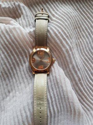 Oozoo Horloge met lederen riempje grijs-groen