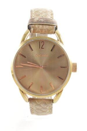 Oozoo Uhr mit Lederarmband goldfarben-wollweiß Casual-Look