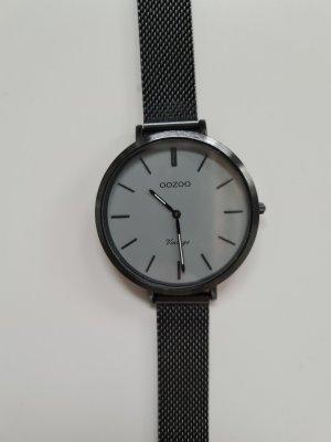 OOZOO Uhr, schwarz, flach, Mesh-Metall-Armband