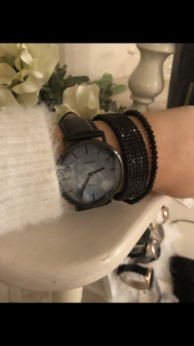 Oozoo Uhr schwarz Leder Armbanduhr NEU!
