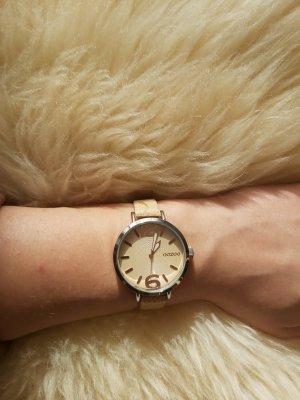 Oozoo Horloge met lederen riempje zilver-zandig bruin