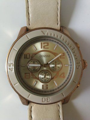 Oozoo Watch With Leather Strap gold-colored-oatmeal