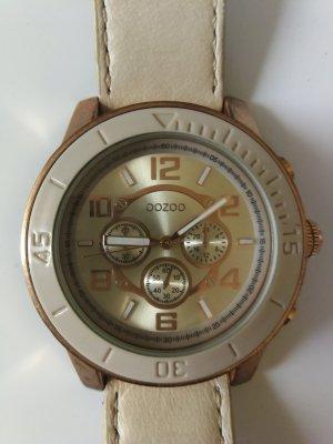 Oozoo Horloge met lederen riempje goud-licht beige