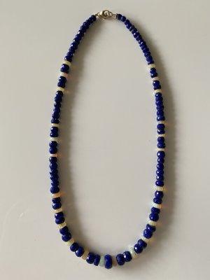 Srebrny łańcuch niebieski-biały