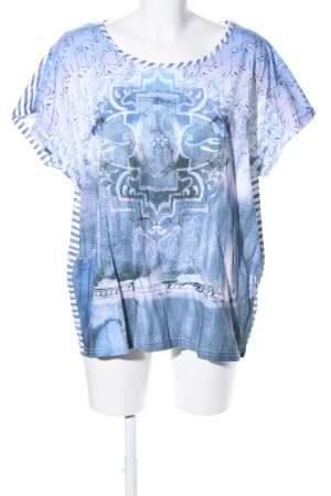 Open End T-Shirt blau-weiß abstraktes Muster Casual-Look