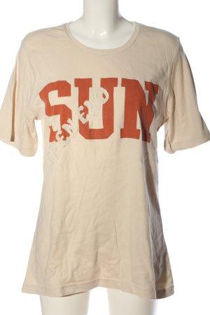 Open End T-Shirt nude-hellorange Schriftzug gedruckt Casual-Look
