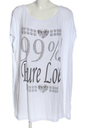Open End T-Shirt weiß-schwarz Motivdruck Casual-Look