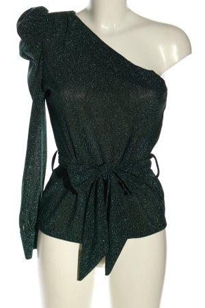 Opullence Paris Eénschoudershirt zwart gestippeld extravagante stijl