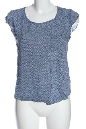 Opus ärmellose Bluse blau-weiß Allover-Druck Casual-Look