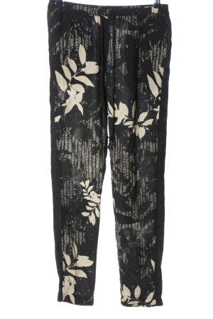 Opus Luźne spodnie czarny-kremowy Na całej powierzchni W stylu casual