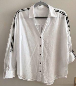 Opus Oversized Blouse white-black cotton