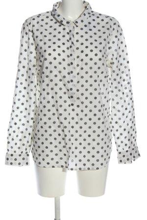 Opus Colletto camicia bianco-nero motivo a pallini stile casual