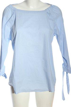 Opus Blusa tipo Carmen azul-blanco estampado repetido sobre toda la superficie