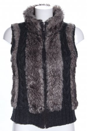 Opus Fur vest black cable stitch business style