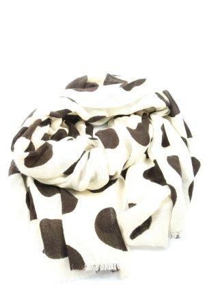 Opus Écharpe à franges blanc-brun imprimé allover style décontracté
