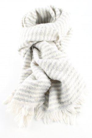 Opus Fringed Scarf natural white-light grey striped pattern casual look