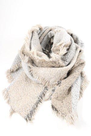 Opus Écharpe à franges blanc cassé-gris clair style décontracté