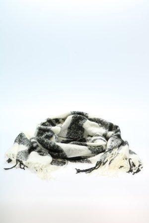 Opus Bufanda de flecos blanco-negro estampado a cuadros Adorno de flecos