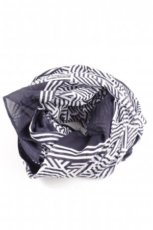 Opus Fringed Scarf blue-white graphic pattern casual look