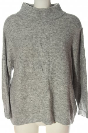 Opus Coarse Knitted Sweater light grey flecked casual look