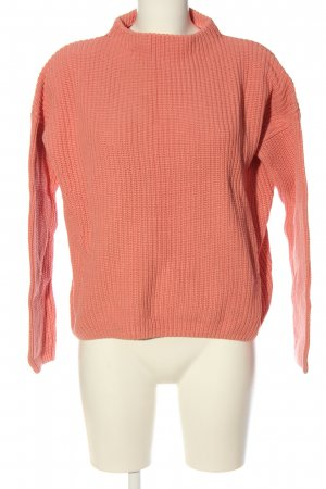 Opus Coarse Knitted Sweater light orange cable stitch casual look