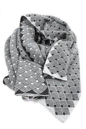 Opus Bufanda de ganchillo gris claro-negro estampado con diseño abstracto