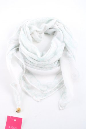 Opus Neckerchief white-turquoise mixed pattern casual look