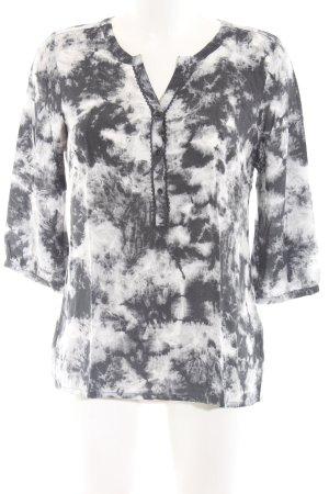 Opus Hemd-Bluse schwarz-weiß abstraktes Muster Casual-Look