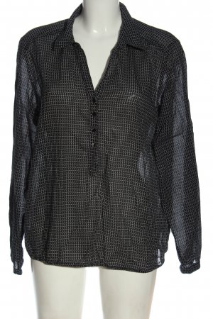 Opus Camicia blusa nero-bianco sporco stampa integrale stile casual