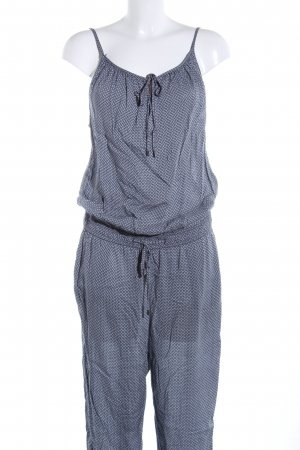 Opus Jumpsuit blau-weiß Allover-Druck Casual-Look