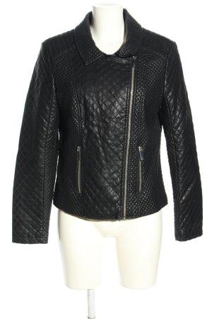 Opus Veste en cuir synthétique noir motif de courtepointe style décontracté