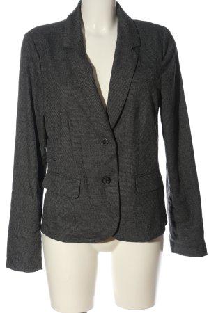 Opus Korte blazer zwart-wolwit gestippeld zakelijke stijl
