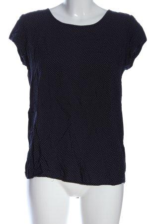 Opus Kurzarm-Bluse blau-weiß Allover-Druck Casual-Look