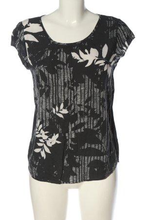 Opus Kurzarm-Bluse schwarz-wollweiß Blumenmuster Casual-Look