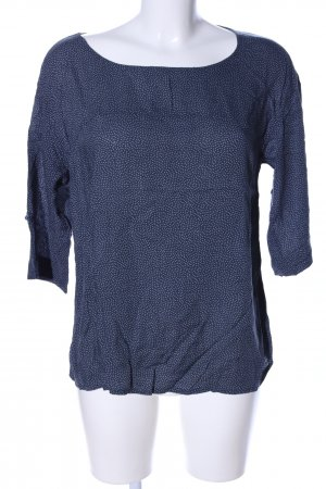 Opus Kurzarm-Bluse blau abstraktes Muster Business-Look