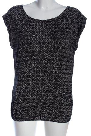 Opus Kurzarm-Bluse schwarz-weiß grafisches Muster Casual-Look