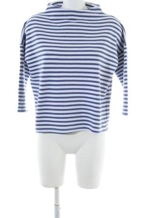 Opus Maglione a maniche corte blu-bianco motivo a righe stile casual