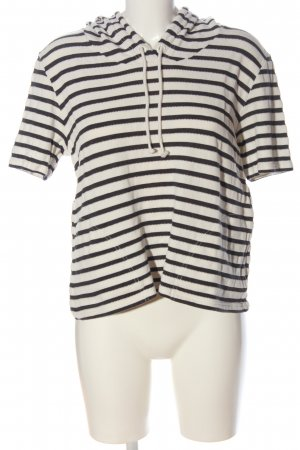Opus Short Sleeve Sweater natural white-black striped pattern casual look