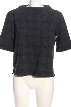Opus Sweter z krótkim rękawem czarny-niebieski Wzór w kratkę